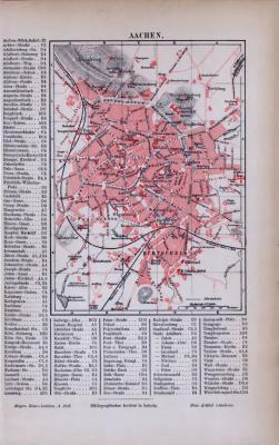 Aachen Stadtplan ca. 1885 Original der Zeit