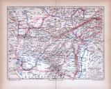 Afghanistan Landkarte ca. 1885 Original der Zeit