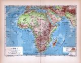 Afrika Landkarte Fluß- und Gebirgssysteme ca. 1885 Original der Zeit