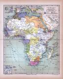Afrika Landkarte Europäische Besitzungen ca. 1885 Original der Zeit