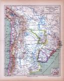 Argentina Chile Bolivia Uruguay und Paraguay Landkarte ca. 1885 Original der Zeit