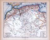 Algerien Marokko und Tunis Landkarte ca. 1885 Original der Zeit