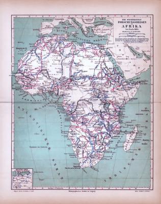 Afrika Landkarte Forschungsreisen ca. 1885 Original der Zeit