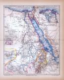 Ägypten Darfur und Abessinien Landkarte ca. 1885 Original der Zeit