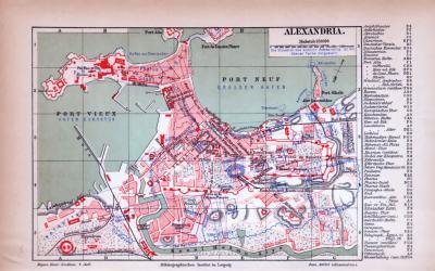 Alexandria Stadtplan ca. 1885 Original der Zeit