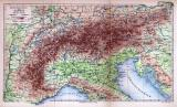Höhenschichten der Alpen Landkarte ca. 1885 Original der Zeit