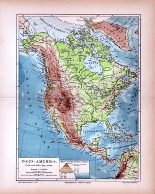 Nord-Amerika Landkarte Fluß- und Gebirgssysteme ca. 1885 Original der Zeit