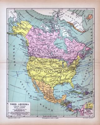 Nord-Amerika Landkarte Politische Übersicht ca. 1885 Original der Zeit