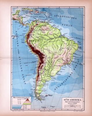 Süd-Amerika Landkarte Fulß- und Gebirgssysteme ca. 1885 Original der Zeit