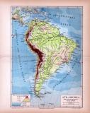 Süd-Amerika Landkarte Fulß- und Gebirgssysteme...