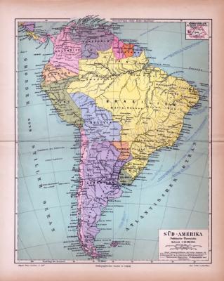 Süd-Amerika Landkarte Politische Übersicht ca. 1885 Original der Zeit