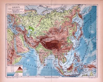 Asien Landkarte Fluß- und Gebirgssysteme ca. 1885 Original der Zeit
