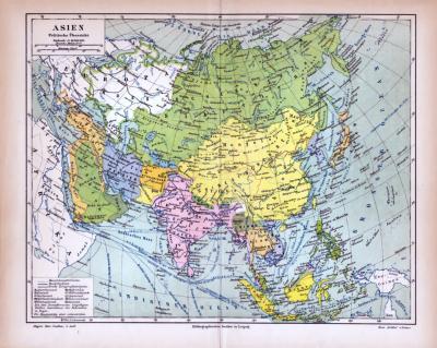 Asien Landkarte Politische Übersicht ca. 1885 Original der Zeit