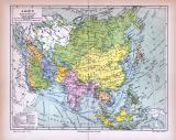 Asien Landkarte Politische Übersicht ca. 1885...