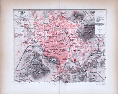 Athen Stadtplan ca. 1885 Original der Zeit