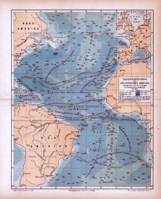 Atlantischer Ozean Landkarte Tiefenverhältnisse ca. 1885 Original der Zeit