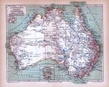 Australien Landkarte ca. 1885 Original der Zeit