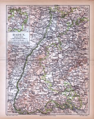 Baden Landkarte ca. 1885 Original der Zeit