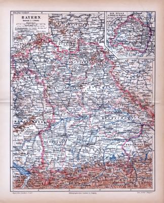 Bayern Landkarte ca. 1885 Original der Zeit
