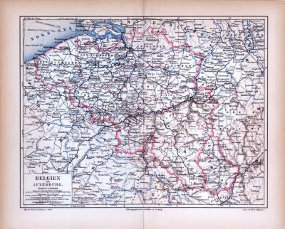 Belgien und Luxemburg Landkarte ca. 1885 Original der Zeit