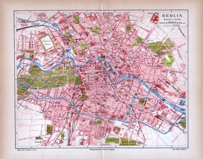 Berlin Stadtplan ca. 1885 Original der Zeit