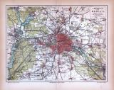 Umgebung von Berlin Landkarte ca. 1885 Original der Zeit