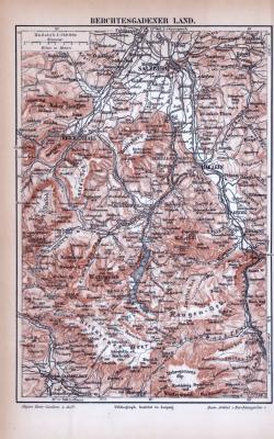 Berchtesgardener Land Landkarte ca. 1885 Original der Zeit