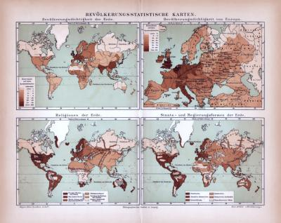 Bevölkerungsstatistische Karten der Erde ca. 1885 Original der Zeit