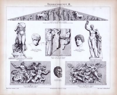 Bildhauerkunst III. ca. 1885 Original der Zeit