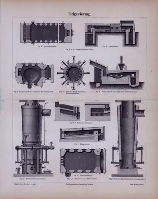 Bleigewinnung ca. 1885 Original der Zeit