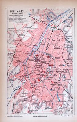 Brüssel Stadtkarte ca. 1885 Original der Zeit