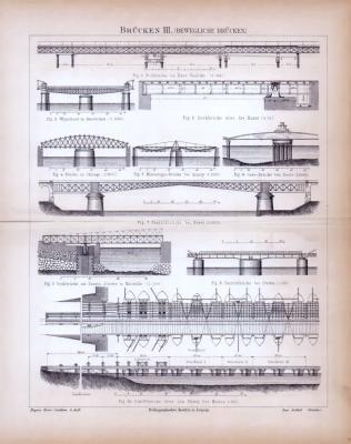 Brücken III. (Bewegliche Brücken) ca. 1885 Original der Zeit