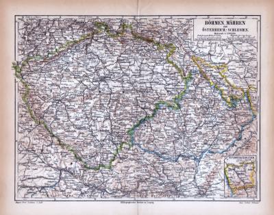 Böhmen Mähren Österreich Schlesien Landkarte ca. 1885 Original der Zeit