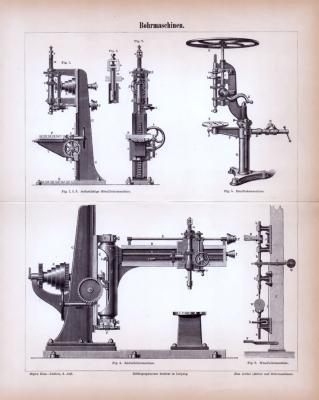 Bohrmaschinen ca. 1885 Original der Zeit