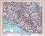 Bosnien und Montenegro Landkarte ca. 1885 Original der Zeit
