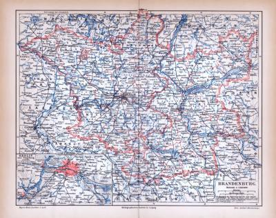 Brandenburg Landkarte ca. 1885 Original der Zeit