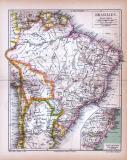 Brasilien Landkarte ca. 1885 Original der Zeit