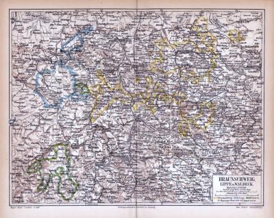 Braunschweig Lippe Waldeck Landkarte ca. 1885 Original der Zeit
