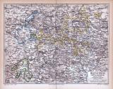Braunschweig Lippe Waldeck Landkarte ca. 1885 Original...