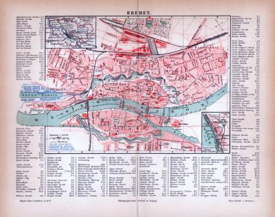 Bremen Stadtplan ca. 1885 Original der Zeit