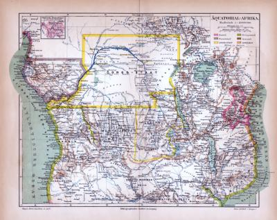 Äquatorial Afrika Landkarte ca. 1885 Original der Zeit