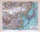 China und Japan Landkarte ca. 1885 Original der Zeit