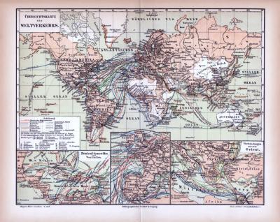 Übersichtskarte des Weltverkehrs ca. 1885 Original der Zeit