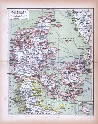 Dänemark Landkarte ca. 1885 Original der Zeit