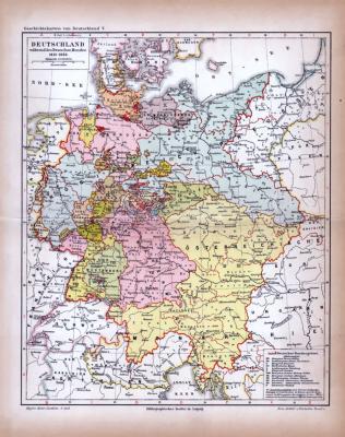 Deutschland während des Deutschen Bundes Landkarte ca. 1885 Original der Zeit