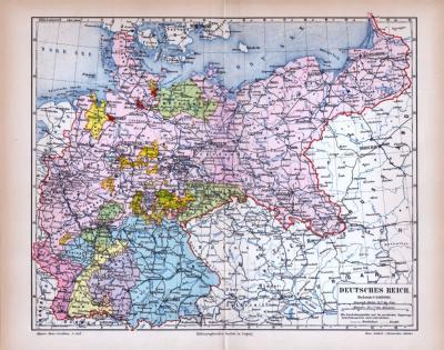 Deutsches Reich Landkarte ca. 1885 Original der Zeit