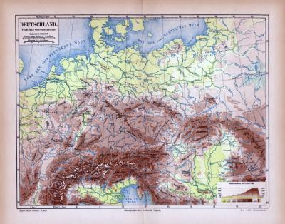 Deutschland  Landkarte Fluß- und Gebirgssysteme ca. 1885 Original der Zeit