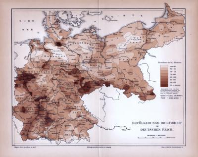 Deutsches Reich Karte Bevölkerungs-Dichtigkeit ca. 1885 Original der Zeit