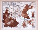 Deutsches Reich Karte Verteilung der Konfessionen ca. 1885 Original der Zeit