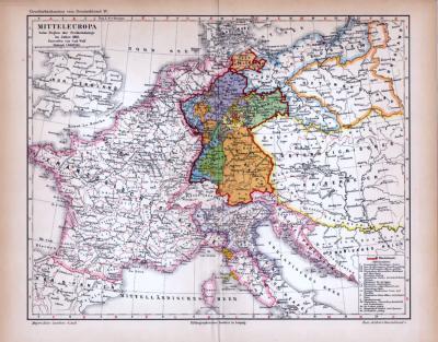 Mitteleuropa Karte Beim Beginn der Freiheitskriege im Jahre 1813 ca. 1885 Original der Zeit